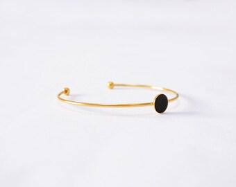 Bracelet jonc GALLICA, pastille cuir noir