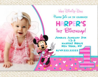 Minnie Mouse 1st Birthday Invitations, Minnie Invitations, Minnie Mouse First Birthday Invitations , Minnie Mouse Invitations