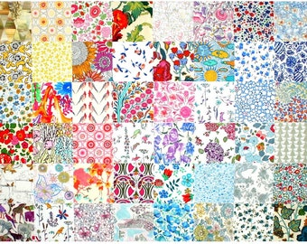 "Liberty Fabric 48 Mini 2.5"" Charm Pack Squares Patchwork Quilting Floral muted pastel pale light and low volume Liberty London Tana Lawn"