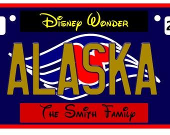 Disney Cruise Door Magnet, License Plate Alaska, Disney Cruise Magnet, Fish Extender Gift,  Door Magnet, Cruise Magnet,  Door Decor