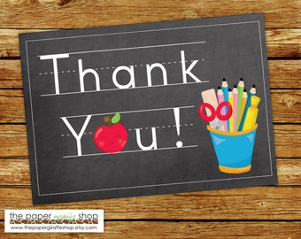 Teacher Thank You Card | Teacher Theme Thank You Card | Teacher Gift | Pens and Apple Note Card