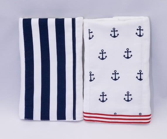 Set of 2 Cute Burp Cloths, Anchor Sailor themed Burp Cloths