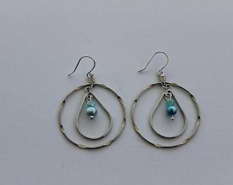 Teardrop Circle Blue Hoop Earrings