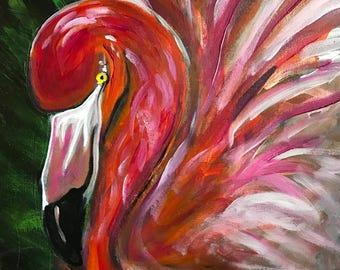 "Flamingo Day, 14"" x 20"" Original Acrylic Painting on Canvas"