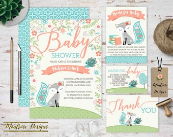 Baby Fox and Peacock Baby Shower Invitation, Fox Baby Shower Bundle, Thank You, Diaper Raffle Ticket, Book Request, Teal, Coral DIGITAL FILE