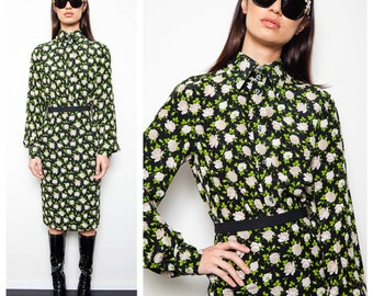 S.A.L.E was 650 now 440 amazing vintage DOLCE & GABBANA silk flower print button down shirt pencil skirt set suit