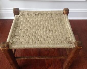 vintage woven wood stool