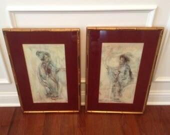 pair of vintage Geisha Girl art in bamboo frames / Chinoiserie