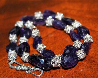 SALE! Vintage Bali Sterling Silver Amethyst Nugget Exquisite Lovely Necklace NS5