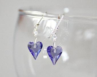 Wife Valentines Gift,Unique,Swarovski,Heart,Purple,Crystal,Heart,Earrings,Fibromyalgia,Sweet 16,Valentines,Gift,For Her,Unique,For Mom