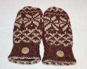 Sweater Mittens - Wool Felted Mittens - Winter Mittens - Fleece Lined Mittens - Womens Size Medium - Cranberry