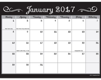 2 Year Calendar Notepad 2017 to 2018 Desk Pad Organizer Blank 7.5 x 10 inches, 25 Months Chalkboard Style Digital Download File