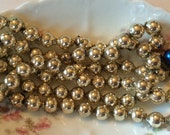 Vintage strand Mercury glass bead garland in silver