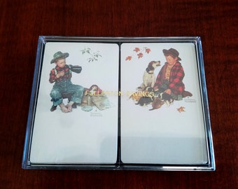 Norman Rockwell Double Deck Playing Cards - 2 Sealed Norman Rockwell Playing Card Sets - Hoyle Plastic Coated Playing Cards Made in the USA