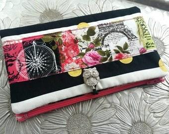 Women's Wallet, Black and Pink Postcard Wallet, Clutch