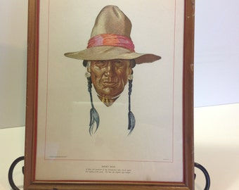 Antique  Native American Lithograph Print Short Man  Reiss