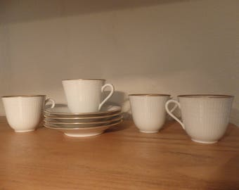Rorstrand Sweden Aviel Set of 4 Teacups and Saucers