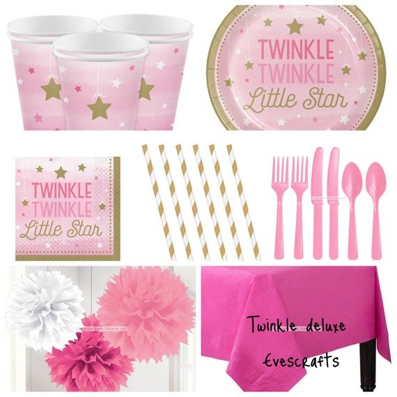 Twinkle little star pink party supplies baby shower