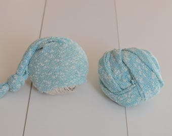 Ready to Ship Stretch lace knit fabric wrap and matching sleepy hat Baby boy or girl photo prop aqua blue white speckles
