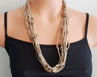 FREE SHIPPING / NECKLACE  Layered black leather necklace, String necklace, Modern leather rope necklace