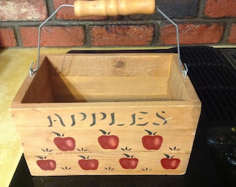 Vintage Wooden Box With Painted Juicy Red Apples & Handle