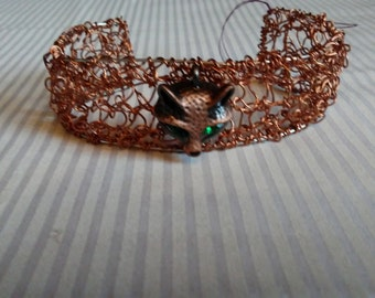 Hand Knit Copper Wire Bracelet