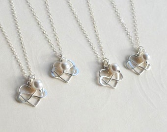 Bridesmaid Gift Necklace-Set of 3, 4, 5,6 Heart Infinity Pearl Necklaces in sterling silver- Wedding Jewelry Necklace Set