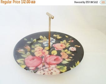ON SALE Vintage Handled Plastic Serving Tray Sweets Platter  Black with Roses Cottage Chic  Shabby Chic