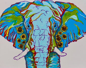 Rainbow Sunflower Elephant 5x7 Print