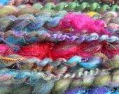 MADNESS yarn, priced per 10 yards, handspun, sequins, art yarn, thick and thin yarn, 2-ply, super bulky, angelina, sari silk, mini skein