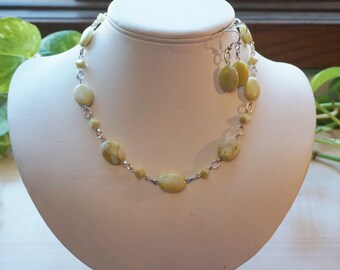 Green Peridot Jasper Gemstone Necklace,  Women's Green Necklace
