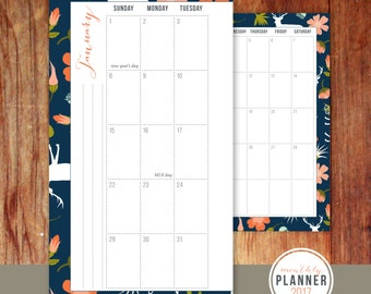 Personal Size 2017 Monthly Planner Insert // Agenda Calendar // Floral, Woodland, Geometric, Mint, Coral, Navy, Olive, Kikki K, Filofax