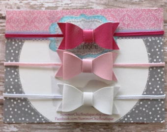 Baby Headband, Bow Headband,  Light Pink Baby Headband,  Infant Headband, Newborn Headband, Set of Faux Leather Bows, Silver Baby Headband