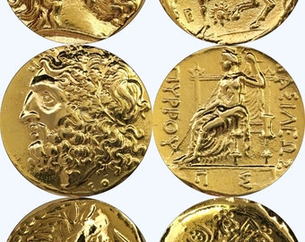 For Percy Jackson Fans, Great Gift, Set of 3 Coins of Zeus, King of the Gods, 24K Gold Plate,