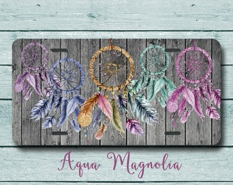 Dream Catchers - Multi Colors  - Boho Chic - Weathered Wood - Vintage - License Plate - Aluminum - Car Tag - Feathers