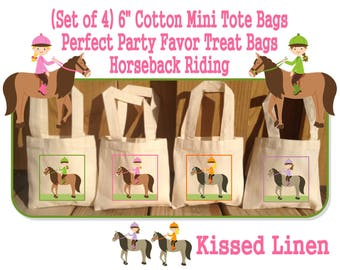 """Boy Girl Horseback Horse Pony Riders Riding Birthday Party Treat Favor Gift Bags Mini 6""""x6"""" Natural Cotton Totes Children Kids Horses Ponies"""