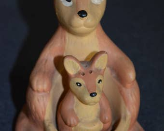 Vintage Kangaroo and Baby Salt and Pepper Shakers