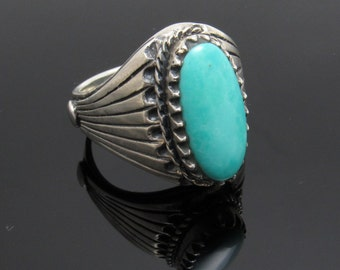 Sterling Turquoise Ring Vintage Mens Jewelry SIze 12 H828
