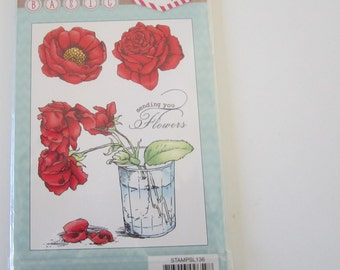 Rose in a vase Stamp- Made by Studio Light-Sending you Flowers