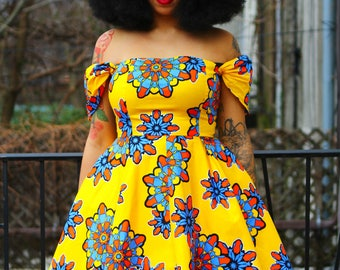 ADE - Yellow Flower African Ankara Wax Print Off the Shoulder Dress SM-XXL