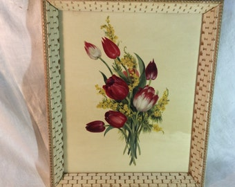 Vintage Tulip Floral Framed Picture Unique Frame Nice