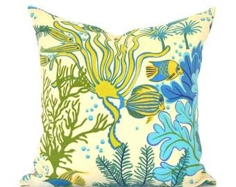 Outdoor Pillows Outdoor Pillow Covers Decorative Pillows ANY SIZE Pillow Cover Blue Pillow Mill Creek Outdoor Splish Splash Marina