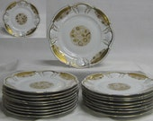 "18 Gold Encrusted 8"" Plates Vintage Rosenthal Germany Set Wedding Shower Holiday Table Setting Entertaining Extra Plates"