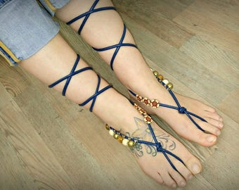 Barefoot Sandals, Blue Leather Sandles, Hippie Foot Jewelry, Footless Sandals, Barefoot Boho Sandal Footless thongs Navy Beaded Vegan Sandal