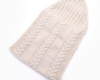 Newborn Baby Wrap Swaddle Blanket, Baby Kids Toddler Wool Knit Blanket Swaddle Sleeping Bag Sleep Sack Stroller Wrap for 0-12 Month ( Kahki)