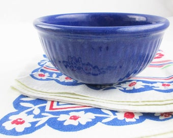 A Vertically Ribbed Navy Blue Mixing Bowl - Small Bowl - Navy Blue Glaze - Farmhouse Chic - Unmarked