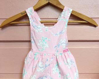 Vintage pink osh kosh bunny romper - baby girl vintage - easter romper - jumper - sun suit size 3/6M