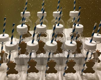 12- Teddy Bear with Crown 8 oz Vinyl Cup Plastic Bottles With Lids