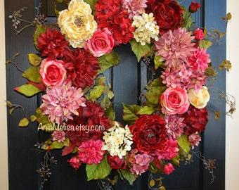 spring wreath Mother's day wreaths for front door wreaths  red pink wreath hydrangea wreaths floral gift front door decorations