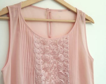 Vintage floral pastel pink vest Ladies Summer Day wear